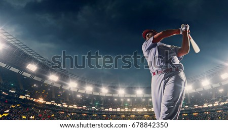 Baseball batter hitting ball during game on the professional stadium full of people. The stadium is made in 3D with animated crowd. #678842350