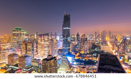 Cityscape view of modern office business building in business zone at Bangkok,Thailand. #678846451
