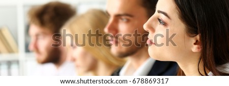 Group of people listen carefully during seminar in office portrait. Study event, client conversation, plan creative job, customer support service, case hear in court, leader performance concept Royalty-Free Stock Photo #678869317