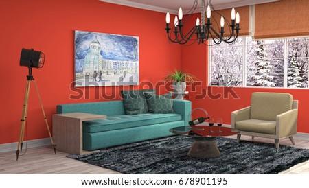 Interior living room. 3d illustration #678901195