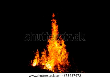 Bonfire blur silhouette Black background light #678987472