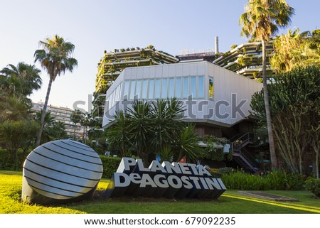 BARCELONA, SPAIN -2 JULY 2017- House of the head office of Planeta-DeAgostini. This is a Spanish-Italian publisher specializing in collectible books in Barcelona, Catalonia, Spain. #679092235