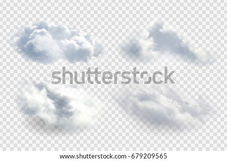 Vector set of realistic isolated cloud on the transparent background. Royalty-Free Stock Photo #679209565
