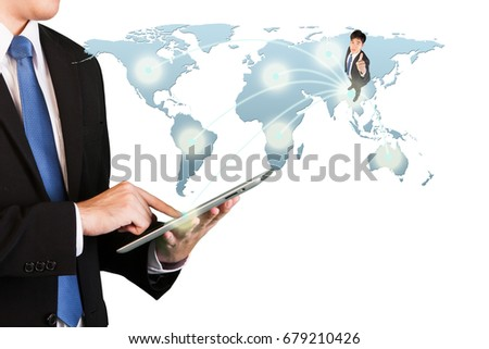 Business concept, Businessman touching tablet. Worldwide connection technology interface #679210426