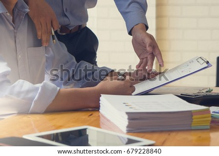 Business and finance concept of office working, Businessmen discussing analysis chart, Vintage effect #679228840