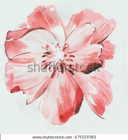 leaves flowers watercolor draw art design