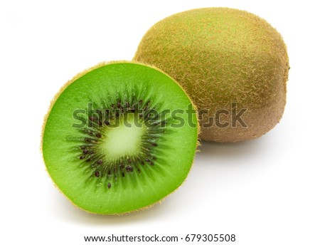 Ripe whole kiwi fruit and half kiwi fruit isolated on white background #679305508