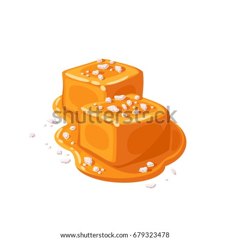 Piece of salted caramel .Vector illustration flat icon isolated on white. Royalty-Free Stock Photo #679323478