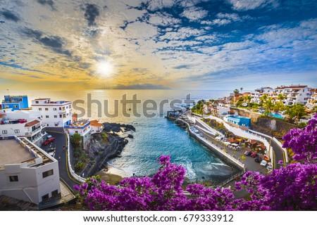 Sunrise in Puerto de Santiago city,  Tenerife, Canary island, Spain Royalty-Free Stock Photo #679333912