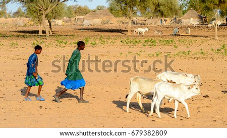 FERLO DESERT, SENEGAL - APR 25, 2017: Unidentified Fulani two boys in colored clothes walk along the street. Fulanis (Peul) are the largest tribe in West African savannahs #679382809