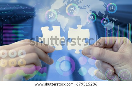 two pieces of jigsaw puzzle and various business information. #679515286