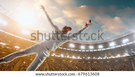 Cricket bowler in action on a professional stadium. The player wears unbranded clothes. The stadium is made in 3D.