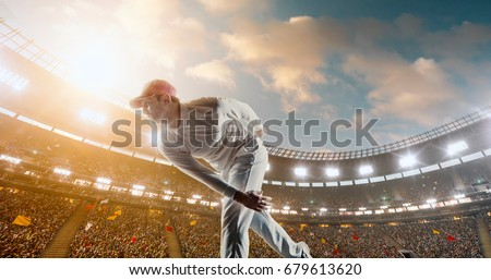 Cricket bowler in action on a professional stadium. The player wears unbranded clothes. The stadium is made in 3D. #679613620