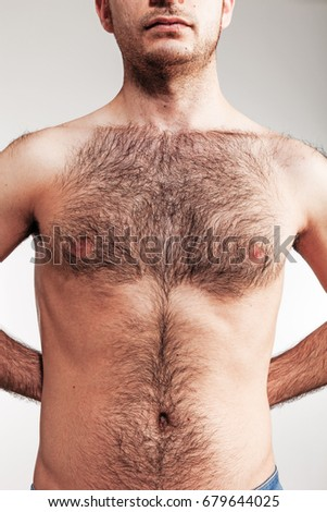 Boy with naked hairy chest #679644025