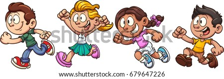 Cartoon kids running. Vector clip art illustration with simple gradients. Each on a separate layer.