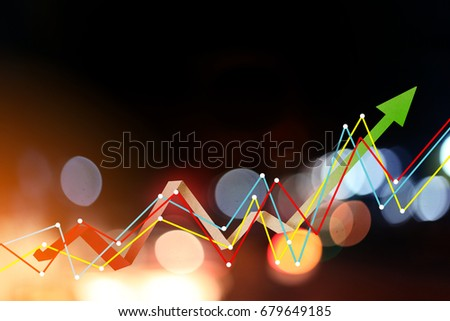business ideas concept with blue bokeh background with graph icon analysis display #679649185
