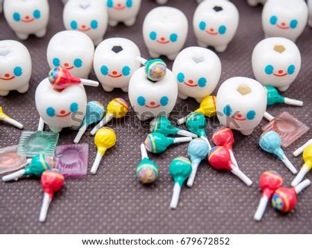 Teeth Love Sweet !!!,Teeth Character Models emotional with lollipop. #679672852