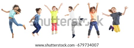 Collage of jumping schoolchildren on white background Royalty-Free Stock Photo #679734007