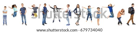 Schoolchildren of different ages on white background