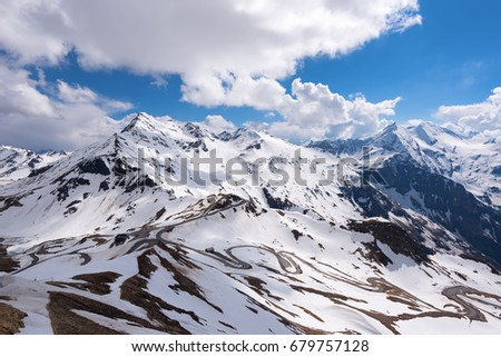 Dramatic and picturesque morning scene. Location famous resort Grossglockner High Alpine Road, Austria. Europe. Artistic picture. Beauty world. Natural winter background.