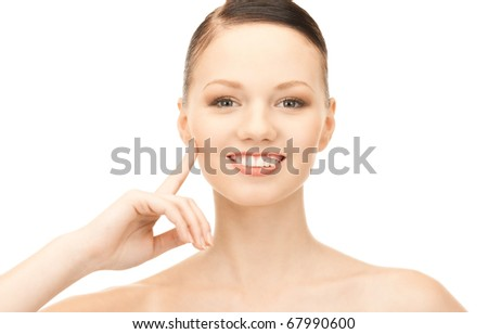 bright picture of lovely woman over white #67990600