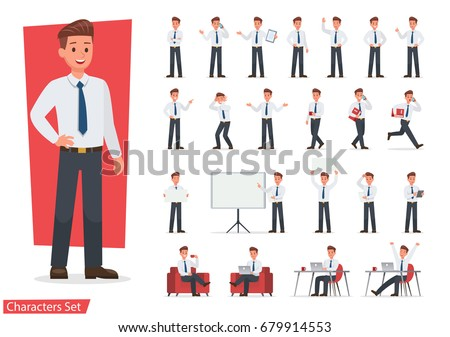 Businessman working character design set. Vector design. Royalty-Free Stock Photo #679914553