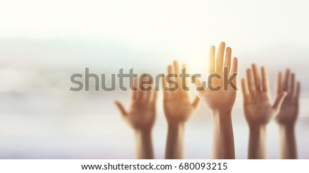 Silhouette, Raising Hands for Participation, many people's hands up. copy space Royalty-Free Stock Photo #680093215