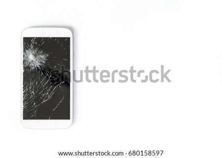 A white mobile phone is broken screen on white background.blank for copy space.