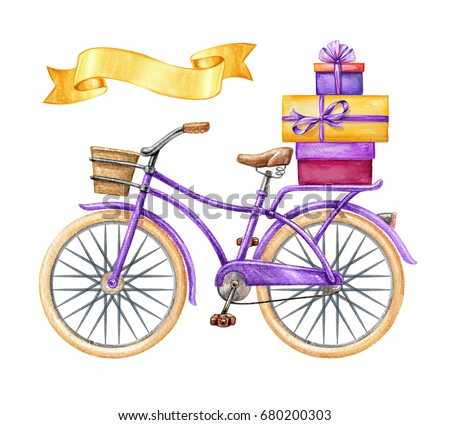 watercolor illustration, bicycle, wavy ribbon tag, gift boxes, holiday clip art isolated on white background