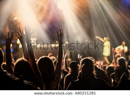 crowd at concert - summer music festival #680251285