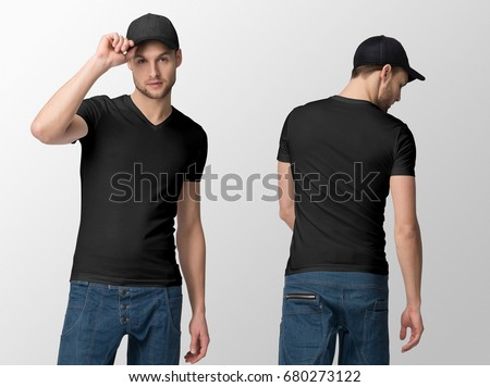 Black t-shirt on a young man in jeans and baseball cap, isolated, front and back, mockup. #680273122