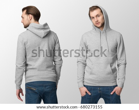 Heather grey hoodie on a young man in jeans, isolated, front and back, mockup. #680273155