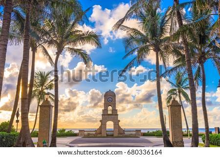 Palm Beach, Florida, USA clock tower on Worth Ave. #680336164