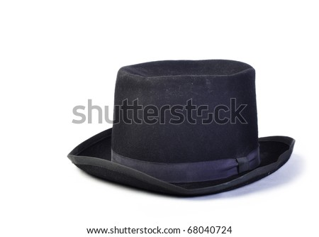 Old vintage black hat isolated on white #68040724