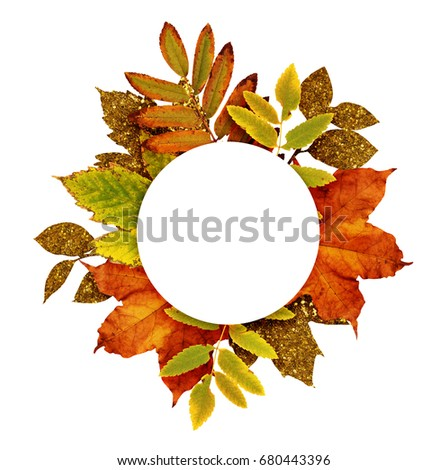 Autumn frame with dry and gold glitter leaves isolated on white background #680443396