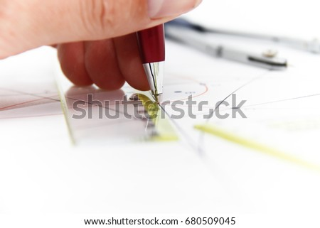 Drawing tools and projects with compass - business concept #680509045
