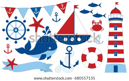 Vector nautical set with starfish, anchor, lighthouse, whale, fish, crab, ship, wheel, buoy, ribbon and flags. Marine life vector illustration.