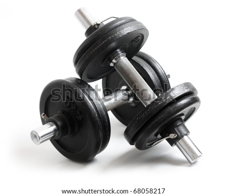 Exercise hand weights isolated on a white background #68058217