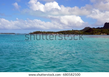 Beautiful sea and wild nature in French Polynesia #680582500