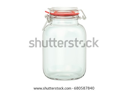 Closed empty glass jar, 3D rendering isolated on white background #680587840