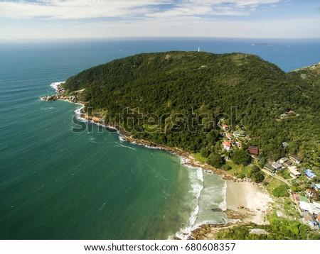 Aerial view Barra da Lagoa Beach in Florianopolis, Brazil. July, 2017. #680608357