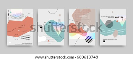 Covers templates set with bauhaus, memphis and hipster style graphic geometric elements. Applicable for placards, brochures, posters, covers and banners. Vector illustrations. Royalty-Free Stock Photo #680613748