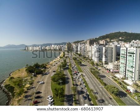 Beach and buildings Beira Mar Norte / Florianopolis. Santa Catarina, Brazil. July, 2017 #680613907