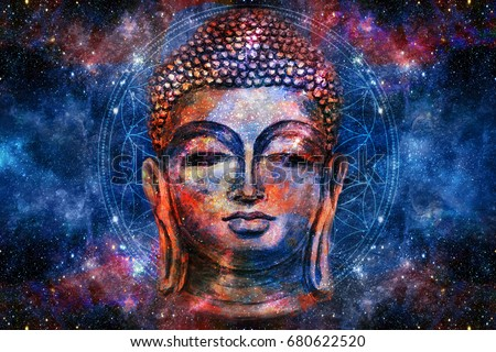 head of Lord Buddha digital art collage combined with watercolor