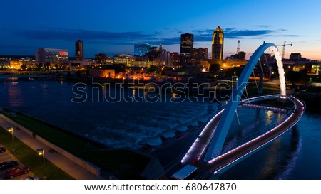 Des Moines Iowa At SunSet, Aerial Image
