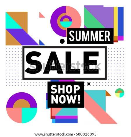 Summer sale geometric style web banner. Fashion and travel discount. Vector holiday Abstract colorful illustration with special offers and promotion. #680826895