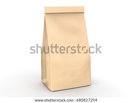 Coffee bean package mockup, blank craft paper bag template in 3d rendering isolated on white background #680827294