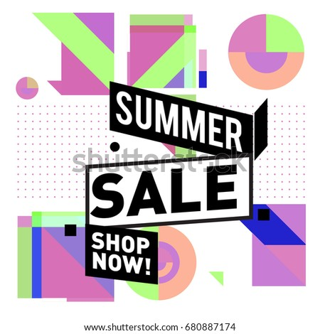 Summer sale geometric style web banner. Fashion and travel discount. Vector holiday Abstract colorful illustration with special offers and promotion. #680887174