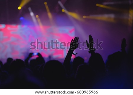 Hands in the air in summer music festival - party concept photo with copy space #680965966