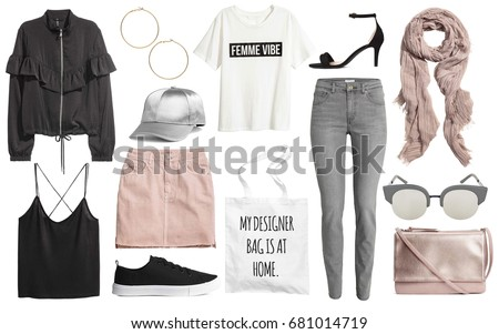 Set of stylish clothes,woman trendy fashion clothes collage on white, flat lay, top view Royalty-Free Stock Photo #681014719